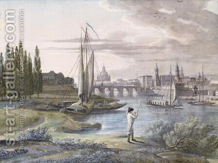 View of Dresden and the River Elbe, 1806 by C. Roes - Reproduction Oil Painting