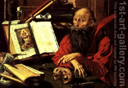 St. Jerome in Meditation by Marinus van Roejmerswaelen - Reproduction Oil Painting