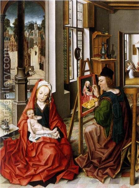 Saint Luke Painting the Virgin c.1470 by Derick Baegert - Reproduction Oil Painting