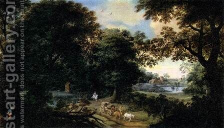 Forest Landscape by Hendrik van der, the Elder Borcht - Reproduction Oil Painting