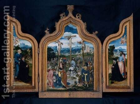 Triptych with Calvary and Patrons 1506 by Jan Wellens de Cock - Reproduction Oil Painting