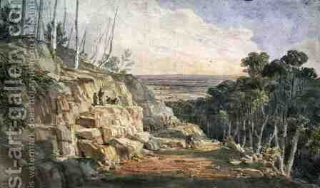 Convicts Building a Road Over the Blue Mountains, 1833 by Charles Rodius - Reproduction Oil Painting