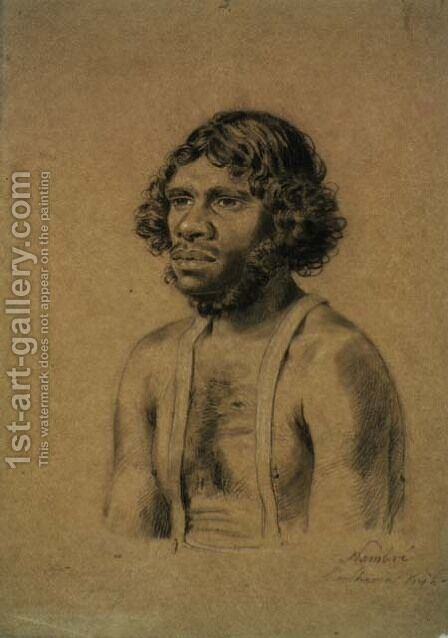 Nambre, from the Shoalhaven tribe, 1834 by Charles Rodius - Reproduction Oil Painting