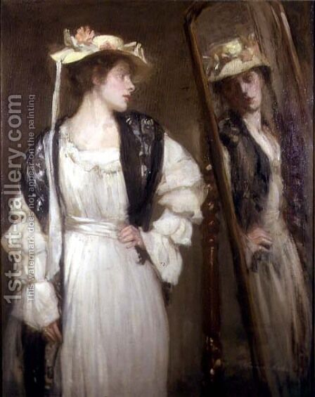 The Looking Glass by Alexander Ignatius Roche - Reproduction Oil Painting