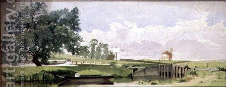 A Riverside Scene with a Lock, c.1860 by Edward W. Robinson - Reproduction Oil Painting