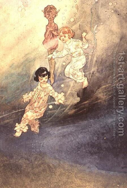 Untitled Watercolour, Children Underwater with an Elf by Charles Robinson - Reproduction Oil Painting
