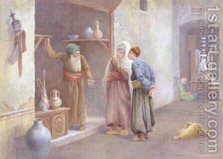 Arab traders, Cairo by Charles Robertson - Reproduction Oil Painting