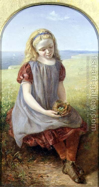 Girl with Birds Nest, 1866 by Henry Larpent Roberts - Reproduction Oil Painting