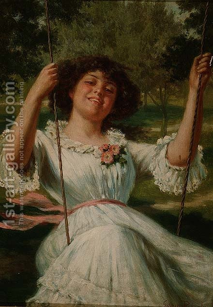 Girl on a Swing by Edwin Thomas Roberts - Reproduction Oil Painting