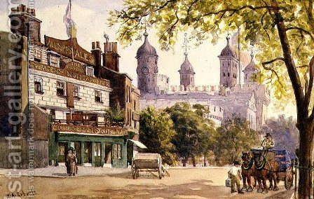 The Old George and the Tower of London by E.A. Roberts - Reproduction Oil Painting