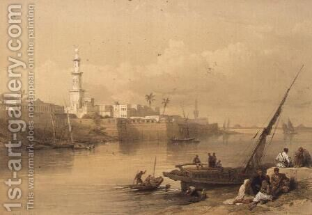 View on the Nile, ferry to Giza, from Egypt and Nubia, Vol.3 by David Roberts - Reproduction Oil Painting