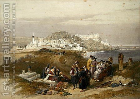 Jaffa, ancient Joppa, April 16th 1839, plate 61 from Volume II of The Holy Land, engraved by Louis Haghe 1806-85 pub. 1843 by David Roberts - Reproduction Oil Painting