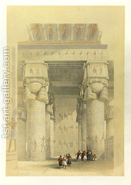 View from under the Portico of the Temple at Dendarah, from Egypt and Nubia, Vol.1 by David Roberts - Reproduction Oil Painting