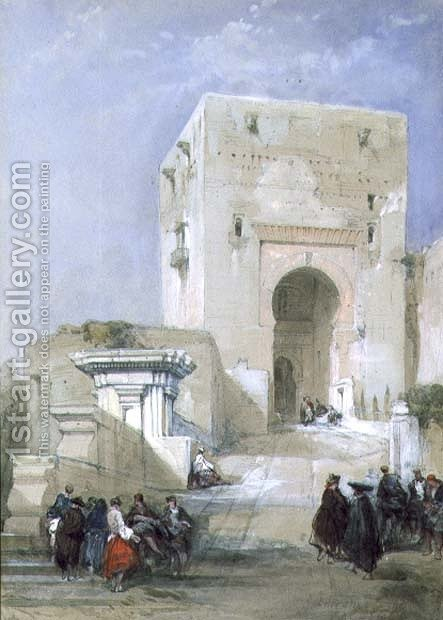 The Gate of Justice, Entrance to the Alhambra, 1833 by David Roberts - Reproduction Oil Painting