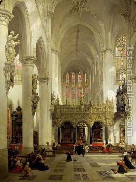 Lierre- Interior of St. Gommaire, 1850 by David Roberts - Reproduction Oil Painting