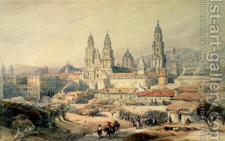 Santiago- the Cathedral from the south-west, 1837 by David Roberts - Reproduction Oil Painting