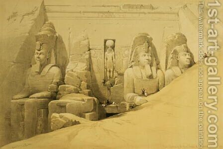 Front Elevation of the Great Temple of Aboo Simbel, Nubia, plate 44 from volume II of Egypt and Nubia, engraved by Louis Haghe 1806-85 pub. 1849 by David Roberts - Reproduction Oil Painting