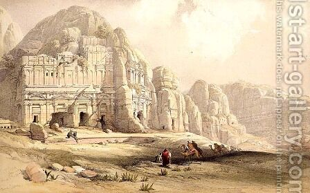 Petra, March 8th 1839, plate 96 from Volume III of The Holy Land, engraved by Louis Haghe 1806-85 pub. 1849 by David Roberts - Reproduction Oil Painting