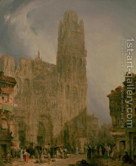 West Front of Notre Dame, Rouen by David Roberts - Reproduction Oil Painting