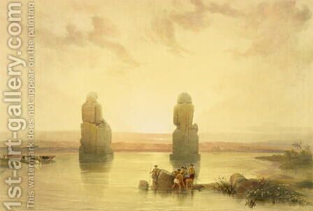 The Colossi of Memnon, at Thebes, during the Inundation, from Egypt and Nubia, Vol.1 by David Roberts - Reproduction Oil Painting