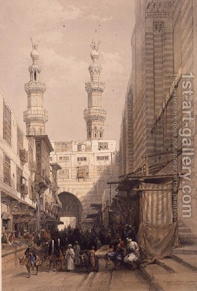 Minarets and Grand Entrance to the Mosque of the Metwalys, Cairo, from Egypt and Nubia, Vol.3 by David Roberts - Reproduction Oil Painting