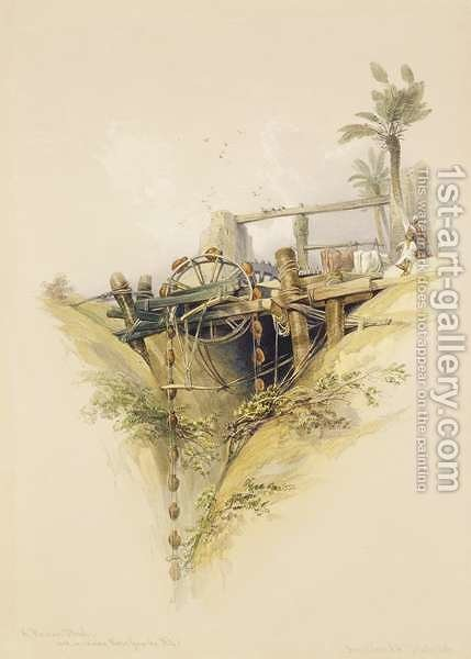 A Persian Water Wheel, used in raising water from the Nile, from Egypt and Nubia, Vol.1 by David Roberts - Reproduction Oil Painting