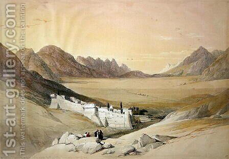 The Convent of St. Catherine, Mount Sinai, looking towards the Plain of the Encampment, February 21st 1839, plate 116 from Volume III of The Holy Land, engraved by Louis Haghe 1806-85 pub. 1849 by David Roberts - Reproduction Oil Painting