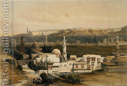Cairo from the Gate of Citizenib, looking towards the Desert of Suez, from Egypt and Nubia, Vol.3 by David Roberts - Reproduction Oil Painting