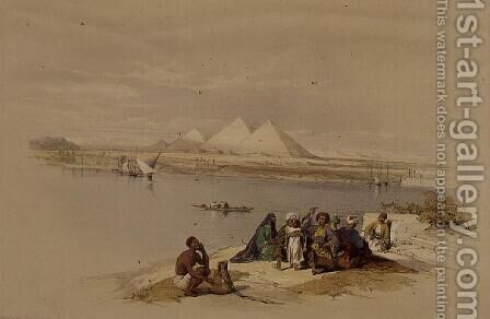 The Pyramids of Giza from the Nile, from Egypt and Nubia, Vol.1 by David Roberts - Reproduction Oil Painting