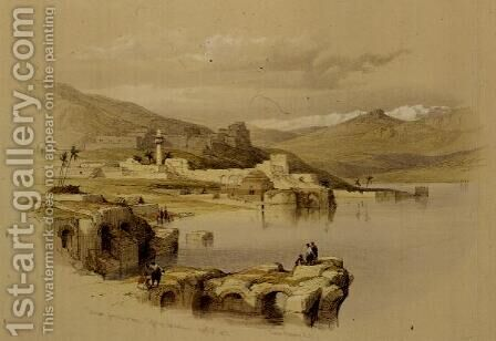 Tiberias from the Walls, Saffet in the Distance, April 22nd 1839, plate 37 from Volume I of The Holy Land, engraved by Louis Haghe 1806-85 pub. 1842 by David Roberts - Reproduction Oil Painting