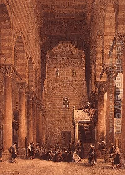 Interior of Mosque of the Metwalys by David Roberts - Reproduction Oil Painting