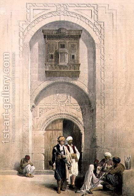 Modern Mansion, showing the Arabesque architecture of Cairo, from Egypt and Nubia, Vol.3 by David Roberts - Reproduction Oil Painting