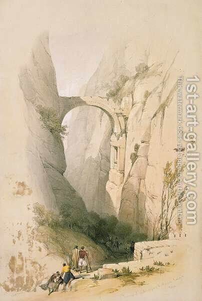 Triumphal Arch crossing the Ravine leading to Petra, plate 95 from Volume III of The Holy Land, engraved by Louis Haghe 1806-85 pub. 1849 by David Roberts - Reproduction Oil Painting