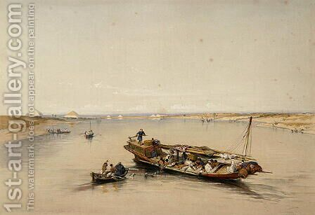 View on the Nile looking towards the Pyramids of Dahshur and Saqqarah, from Egypt and Nubia, Vol.1 by David Roberts - Reproduction Oil Painting