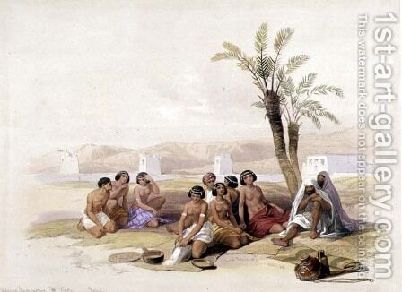 Abyssinian Slaves Resting at Korti, Nubia, from Egypt and Nubia, Vol.1 by David Roberts - Reproduction Oil Painting