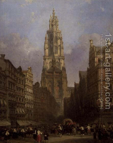 Antwerp Cathedral by David Roberts - Reproduction Oil Painting