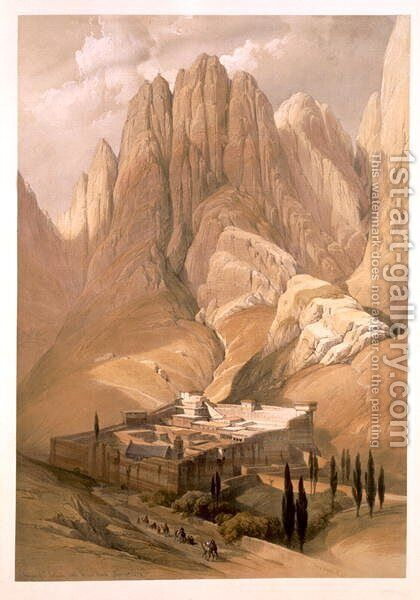 Convent of St. Catherine with Mount Horeb, February 19th 1839, plate 118 from Volume III of The Holy Land, engraved by Louis Haghe 1806-85 pub. 1849 by David Roberts - Reproduction Oil Painting