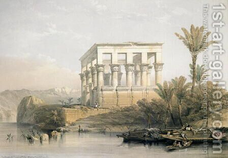 The Hypaethral Temple at Philae, called the Bed of Pharaoh, engraved by Louis Haghe, pub. in 1843 by David Roberts - Reproduction Oil Painting