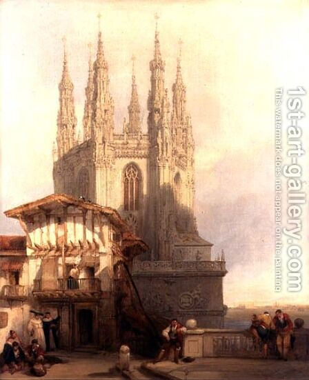The Entrance to the North Transept, Burgos Castle, 1835 by David Roberts - Reproduction Oil Painting