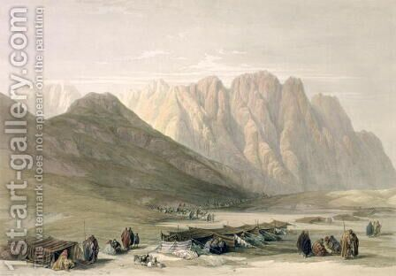 Encampment of the Aulad-Said, Mount Sinai, February 18th 1839, plate 110 from Volume III of The Holy Land, engraved by Louis Haghe 1806-85 pub. 1849 by David Roberts - Reproduction Oil Painting