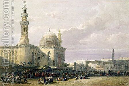 Mosque of the Sultan Hasan from the Great Square of Rumeyleh, Cairo, from Egypt and Nubia, Vol.3 by David Roberts - Reproduction Oil Painting
