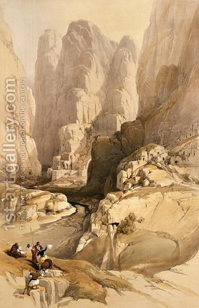 Entrance to Petra, March 10th 1839, plate 98 from Volume III of The Holy Land, engraved by Louis Haghe 1806-85 pub. 1849 by David Roberts - Reproduction Oil Painting