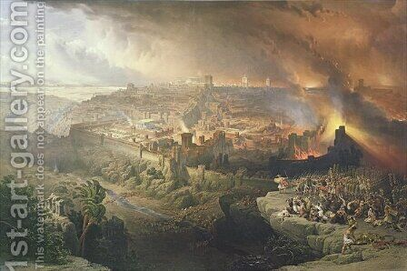 The Destruction of Jerusalem in 70 AD, engraved by Louis Haghe 1806-85 by David Roberts - Reproduction Oil Painting