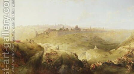 Pilgrims approaching Jerusalem by David Roberts - Reproduction Oil Painting