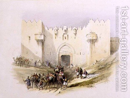 Gate of Damascus, Jerusalem, April 14th 1839, plate 3 from Volume I of The Holy Land, engraved by Louis Haghe 1806-85 pub. 1842 by David Roberts - Reproduction Oil Painting