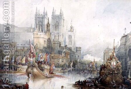 Lord Mayors Barge at Westminster, 1830 by David Roberts - Reproduction Oil Painting
