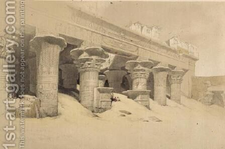 Portico of the Temple of Edfu, Upper Egypt, from Egypt and Nubia, Vol.1 by David Roberts - Reproduction Oil Painting