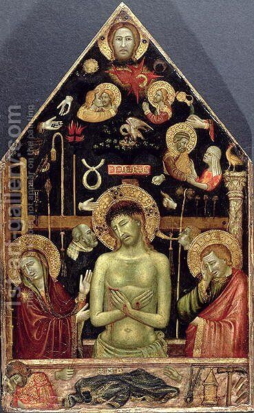 The Man of Sorrows, c.1354 by d'Oderisio (Oderisi) da Napoli Roberto - Reproduction Oil Painting