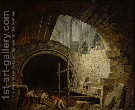 Plundering the Royal Vaults at St. Denis in October 1793 by Hubert Robert - Reproduction Oil Painting