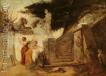 Washerwomen in a Garden, c.1756-61 by Hubert Robert - Reproduction Oil Painting